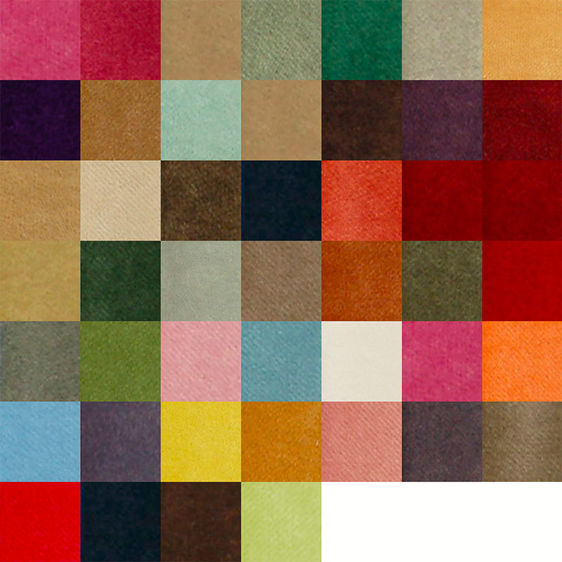 Colour swatches for theatre curtain colours. 46 colours available.